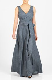 A wide V-neck lends alluring sophistication to our cotton chambray maxi dress with a full flare skirt and a sash tie belt at the seamed waist. Add cap sleeves and shorten to knee length 59.99 register and get $30 off