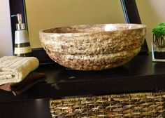 """""""Nabhi Bowl no. marble vessel sink by Kreoo. Natural stone for luxury bathroo… – Marble Bathroom Dreams Stone Bath, Stone Sink, Pedestal Sink, Vessel Sink, White Rooms, White Marble, Natural Stones, Natural Red, Decorative Bowls"""