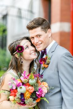 Colorful Bohemian Wedding - A Splendid Occasion Chicago, IL Bohemian Groom, Bohemian Wedding Hair, Boho, Wildflower Centerpieces, Wedding Couples, Wild Flowers, Wedding Flowers, Boutonnieres, Bouquets