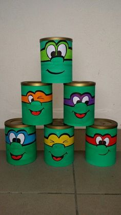upset any ninja turtle - chamboule tout tortue ninja upset any ninja turtle Tin Can Crafts, Easy Crafts, Diy And Crafts, Crafts For Kids, Arts And Crafts, Handmade Crafts, Recycled Toys, Recycled Crafts, Formula Can Crafts