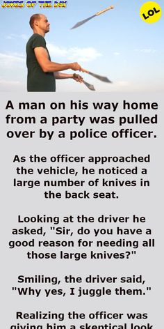 A man on his way home from a party was pulled over by a police officer Funny Long Jokes, Clean Funny Jokes, Really Funny Memes, Funny Stuff, Police Jokes, Giving Up Drinking, I Love You Means, Joke Stories, Advanced English Vocabulary