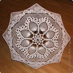 Вязание крючком: Ажурный зонт Нитки Свадьба. Фото 1