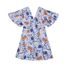 Kimono Sleeve Empire Wasit Floral Mini Dress ($23) ❤ liked on Polyvore featuring dresses, floral pattern dress, kimono sleeve mini dress, kimono sleeve dress, flower printed dress and short blue dress