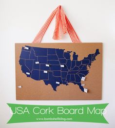 USA Cork Board Map - Perfect home decor idea for families that love to travel!