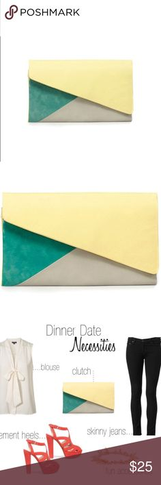 Zara Tricolor clutch - yellow/green - NWOT!! Zara Tricolor leather clutch in bright yellow and two shades of green. Brand new without tags! I bought this to go with a dress I own, but unfortunately it didn't match. My loss is your gain!! Perfect Spring/Summer closet addition; featured in several fashion blogs. Very roomy zip compartment. 4 deep slip pockets. Two thin side flaps that can be snapped closed (optional). Magnetic front flap closure.   🚫 Trades  🚫 Offline transactions  💛 Offers…