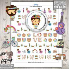 Hippie Stickers, Planner Stickers, Hippy Stickers, Kawaii Stickers, Planner Accessories, Boho, Peace, Love, Hippie Van, Erin Condren
