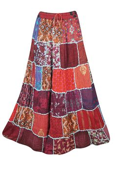 ed78c41ed2 Mogul Interior Women A-Line Patchwork Skirts Maroon Rayon Flare Maxi Skirt  S/M: Amazon.co.uk: Clothing