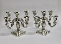2 Original 5 armige Silberleuchter