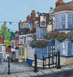 Framed original acrylic and ink illustration on paper of The King's Head Inn Lymington, 40 x 40 cm (artwork is 25 x 25cm)  This traditional public house is found on Quay Hill leading down to the waterfront. It's always decked out with bunting and flower baskets perfect for painting a summer scene. If you are interested in the story of the building, the Kings Head Inn website has a little section on it's history.