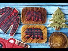 Plaid Bear on Wood Lumberjack Birthday Decorated Sugar Cookie Tutorial Video - Cookie Crazie