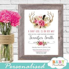Gorgeous Boho Chic Floral Antler Baby Shower Invitations To Celebrate The Upcoming Arrival Of Your New Girl Featuring Majestic Antlers Adorned With A