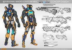 My Betatrooper design for Infinity, Corvus Belli Weapon Concept Art, Game Concept Art, Character Concept, Character Art, Character Design, Character Sheet, Infinity Art, Infinity The Game, Futuristic Armour