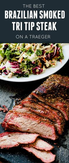 Brazilian Smoked Tri Tip on a Traeger – Oh Sweet Basil You need a Traeger and you really need to make this Brazilian smoked tri tip on a Traeger! The meat is tender, juicy and packed full of flavor! via Sweet Basil Pork Rib Recipes, Traeger Recipes, Barbecue Recipes, Grilling Recipes, Meat Recipes, Tri Tip Smoker Recipes, Traeger Smoked Tri Tip Recipe, Vegetarian Grilling, Smoke