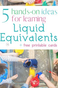 learn and review liquid equivalents with these simple hands-on activities for kids.  We use these in reviewing memory work for Classical Conversations math.  free printable cards for review