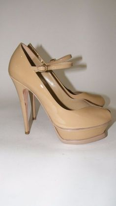 """YSL, Yves Saint Laurent. Tribute Mary Janes. Minor scuffs on patent - very faint. Front Platform. Front Platform - 1.25"""". Tan - Light Brown - Camel. Condition Definitions. Stiletto Heels."""