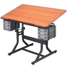 #4: CraftMaster Deluxe Drafting Table Cherry Woodgrain Top/Black Base.