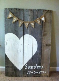 i want to do this with the scrap book papers and the stained heart. Wood Wedding Sign
