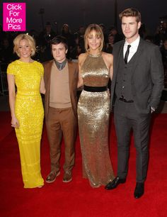 Elizabeth Banks, Josh Hutcherson, Jennifer Lawrence, and Liam Hemsworth walked the red carpet today for The Hunger Games premiere in the UK!