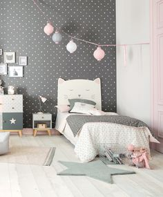 Cat themed bedroom | Pink and grey girl's bedroom furniture and decor| Maisons du Monde