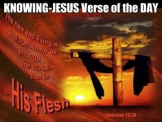 KNOWING-JESUS Verse of the DAY The new and living way that He opened for us through the curtain (that is, through His flesh) Hebrews 10:20  Read more of today's devotional HERE http://www.knowing-jesus.com/hebrews-1020/