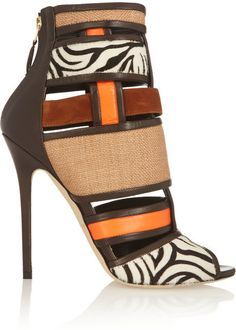 Brian Atwood Irya leather, raffia and calf hair ankle boots