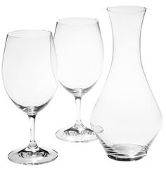 $54.00 A perfect gift for anyone who enjoys good wine, this Riedel For Two gift set includes two Ouverture Magnum wine glasses, along with the new Merlot decanter. The glasses are sturdy and lead- free with generous size bowls for your drinking pleasure, perfect for a full-bodied red wine. The decanter, also lead-free, has a simple upright design, making it both visually appealing and functional ...