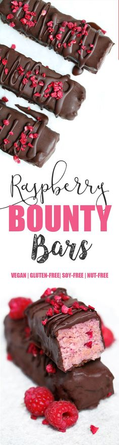 Vegan Raspberry Bounty Bars Since so many of you loved my Blueberry Bounty Bars I thought I would create another variation and shoot a video this time to show you just how easy they are to make…