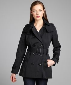 London Fog Black Cotton Blend Belted Trench Coat - Best trench I ever owned but sadly I had to retire it after it got ripped and can't find anyway to buy and ship to Canada. So I'll just have this lovely picture to look at now.