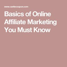 Basics of Online Affiliate Marketing You Must Know