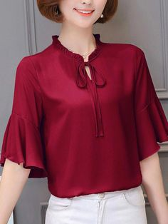 New Fashion Spring Summer Womens Ideas Blouse And Skirt, Blouse Dress, Blouse Styles, Blouse Designs, Short Frocks, Fall Fashion Outfits, Women Ties, Blouse Online, Short Tops