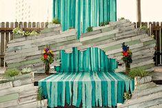 reclaimed wood + ribbon streamer #wedding #ceremony altar or #backdrop