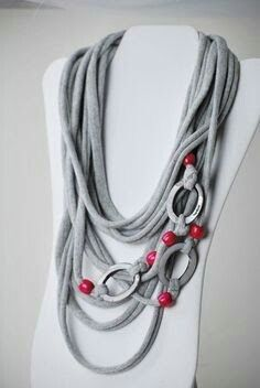 upcycled gray and magenta t shirt necklace by on Etsy . - upcycled gray and magenta t shirt necklace by on Etsy … upcycled gray and magenta t shirt necklace by on Etsy Yarn Necklace, Fabric Necklace, Scarf Jewelry, Textile Jewelry, Fabric Jewelry, Leather Jewelry, Beaded Necklace, T Shirt Necklace, Jewelry Crafts