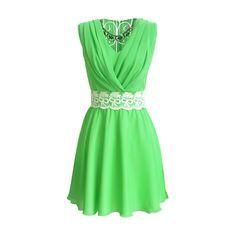 Rotita Zip Fly Design Summer Dress (33 BAM) ❤ liked on Polyvore featuring dresses, vestidos, short dresses, green, chiffon dresses, a line dress, short green dress, chiffon mini dress and green chiffon dress