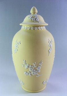 Wedgwood Jasper Ware Primrose Yellow Prunus Pagoda Urn/Lidded Jar 8 1/2 inches
