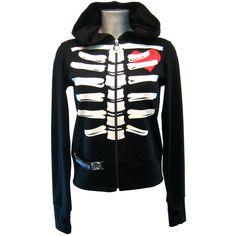 Death Kitty Bone Hoody - Alternative, Gothic, Emo Clothing ($39) ❤ liked on Polyvore