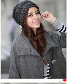 #WinterSpring #Hat #Brunette #Stripes Winter Springs, Girl Fashion, Winter Hats, Stripes, Costumes, Girls, Women's Work Fashion, Toddler Girls, Dress Up Clothes