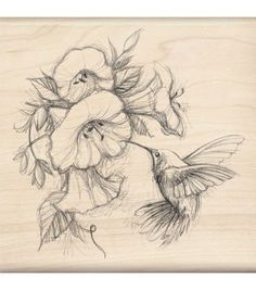 Inkadinkado Rubber Stamp - Hummingbird With Flowers