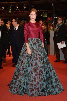 Léa Seydoux en robe Prada sur-mesure à la première du film La Belle et La Bête au Festival du Film de Berlin, en février 2014