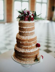 naked cake with ruffled icing | green wedding shoes