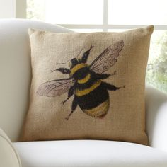 Bumblebee Burlap Pillow Cover - I think my friend Deb would also like one of these.