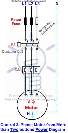 Control 3-Phase Motor from more than Two buttons Power & Control Diagrams