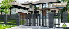 Ogrodzenie Agat to najlepsze rozwiązanie dla osób ceniących prostotę i nowoczesny design. Pionowe, gęsto rozmieszczone sztachety oraz niezwykle modny w tym sezonie antracytowy szary kolor nadadzą eleganckiego wyglądu Twojej posesji. Ogrodzenie jest zabezpieczone antykorozyjnie – nie wymaga dodatkowych zabezpieczeń przed rdzą. Fence Design, Garage Doors, Deck, Outdoor Decor, Home Decor, Fence, Decoration Home, Room Decor, Front Porches
