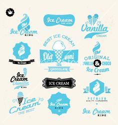 Retro ice cream shop logo vector by zzenko on VectorStock®