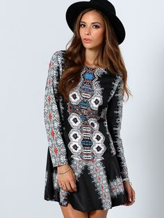 Online shopping for Multicolor Long Sleeve Vintage Print Dress from a great selection of women's fashion clothing & more at MakeMeChic.COM.