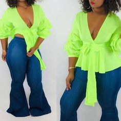 Women Party Neon Green Puff Sleeve T Shirts Solid Sexy Deep V Neck 3/4 Quarter Sleeve Tees High Waist Lace Up T Shirts Lace Up T Shirt, Cheap T Shirts, Ladies Party, Quarter Sleeve, Neon Green, High Waist, Ruffle Blouse, Deep, Clothes For Women