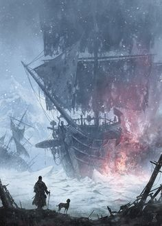 Personal Project: Havoc - Ship Graveyard, Jinho Bae on ArtStation at… Pirate Art, Pirate Life, Pirate Ships, Fantasy Places, Fantasy World, Medieval Fantasy, Dark Fantasy, Old Sailing Ships, Ghost Ship