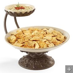 Baroque Chip and Dip Server - 55884 Design Ideas & Pictures Chip And Dip Sets, Chip And Dip Bowl, Tiered Server, Dining Services, Metal Dining Table, Kitchen Dining, Dining Room, Glass Texture, Serveware