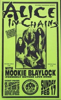 Alice In Chains with Mookie Blaylock(Pearl Jam) Poster Wall, Poster Prints, Mookie Blaylock, Heavy Metal, Punk Poster, Gig Poster, Rock Band Posters, Vintage Music Posters, Scott Weiland