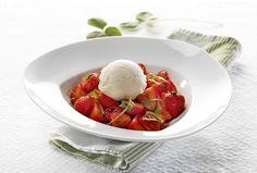 Balsamico marinerede jordbær med vanilieis