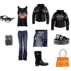 Harley Outfit, created by – I have the boots and tank! Wear the… Harley Outfit, created by – I have the boots and tank! Wear them all the time! Harley Davidson Womens Clothing, Harley Davidson Kleidung, Motorcycle Style, Biker Style, Harley Gear, Harley Boots, Biker Wear, Lady Biker, Biker Chick